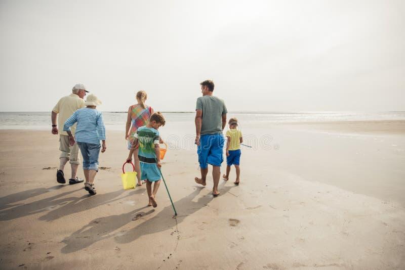 Família que anda na praia fotografia de stock royalty free