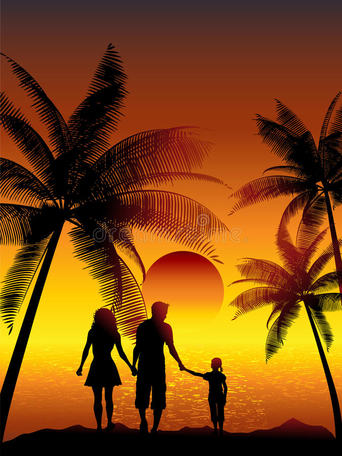 Família que anda na praia ilustração stock