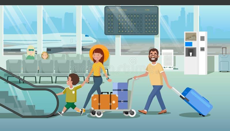 Família que apressa-se para embarcar o plano no vetor do aeroporto ilustração stock