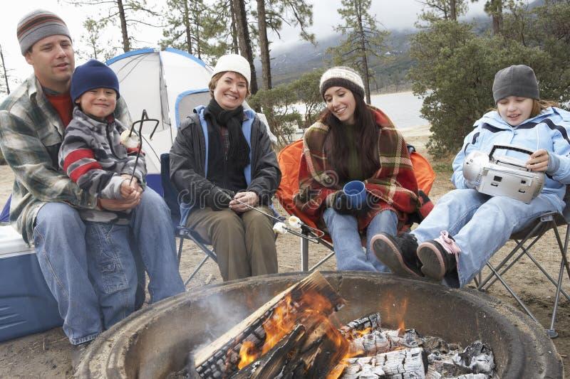 Família que brinda o marshmallow na fogueira imagens de stock