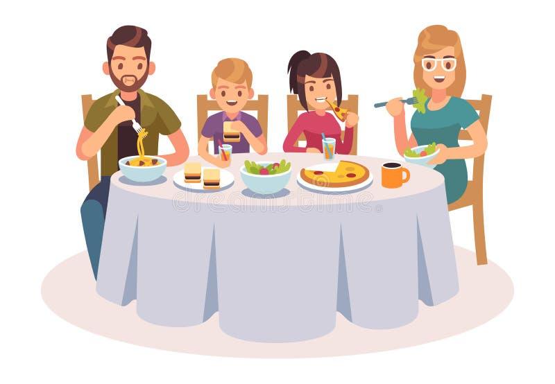 Família que come a tabela Os povos felizes comem pais que do jantar do alimento as crianças genam a ilustração de fala do almoço  ilustração stock