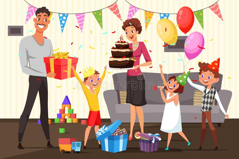 Família que comemora a ilustração do aniversário em casa ilustração do vetor