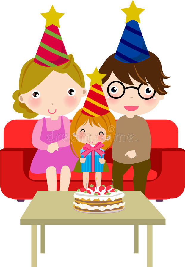 Família que comemora o aniversário ilustração royalty free