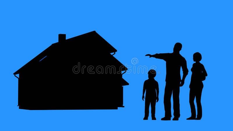 Família que compra uma casa Aprovação de hipoteca para a compra da casa foto de stock royalty free