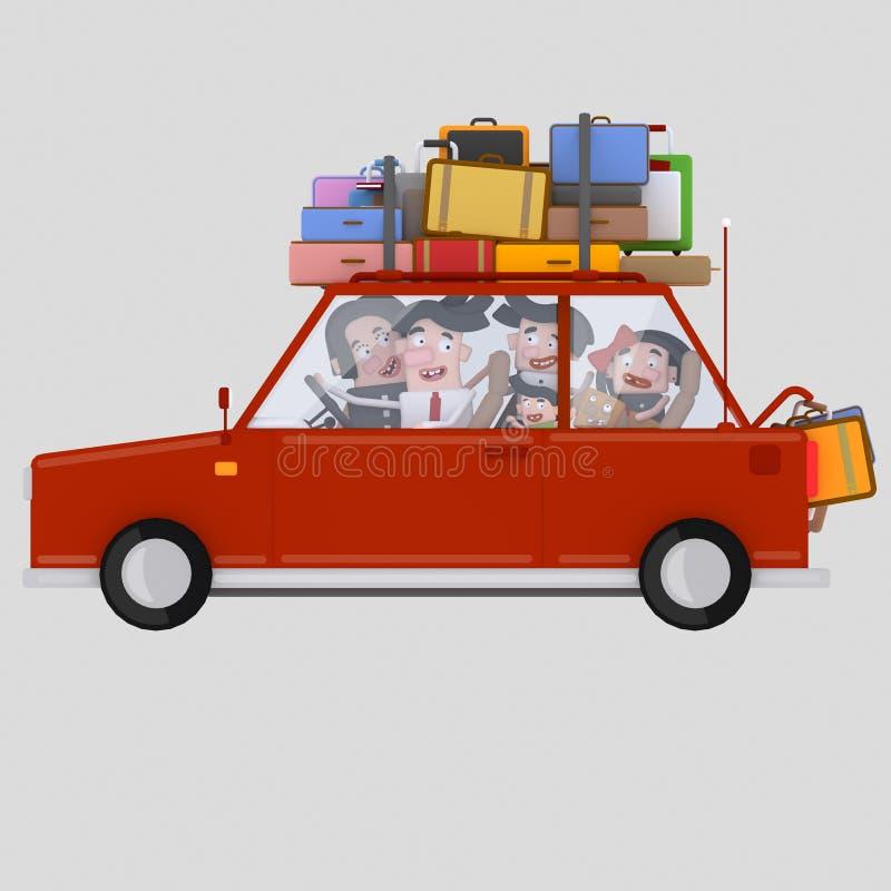 Família que conduz o carro vermelho com bagagem 3d ilustração stock