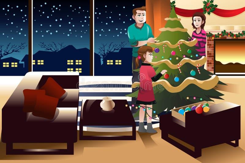 Família que decora a árvore de Natal ilustração royalty free