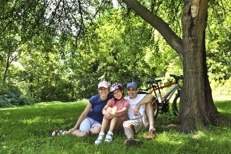 Família que descansa em um parque imagens de stock