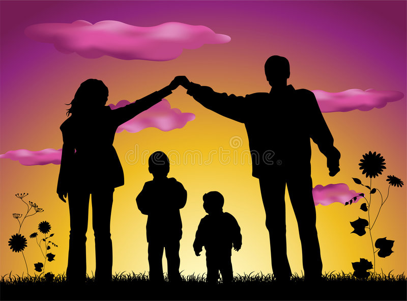 Família que faz a silhueta da casa ilustração do vetor