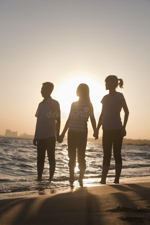 Família que guarda as mãos na praia, por do sol fotos de stock royalty free