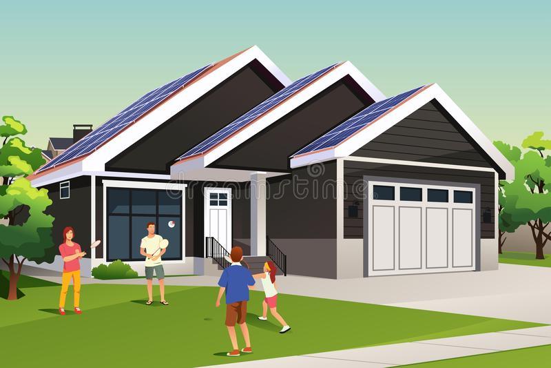 Família que joga fora de sua casa com telhado solar ilustração do vetor