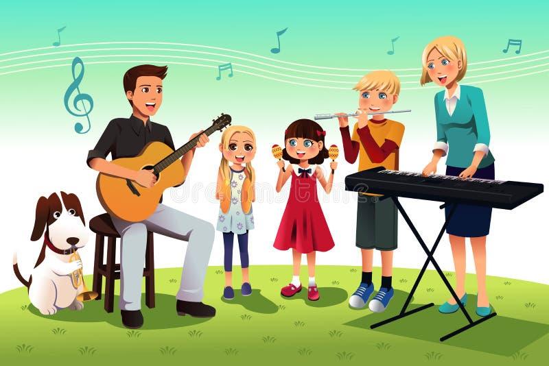 Família que joga a música ilustração do vetor