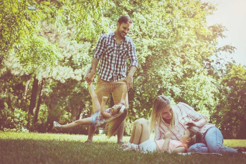 Família que joga no prado junto e que aprecia na soma foto de stock royalty free