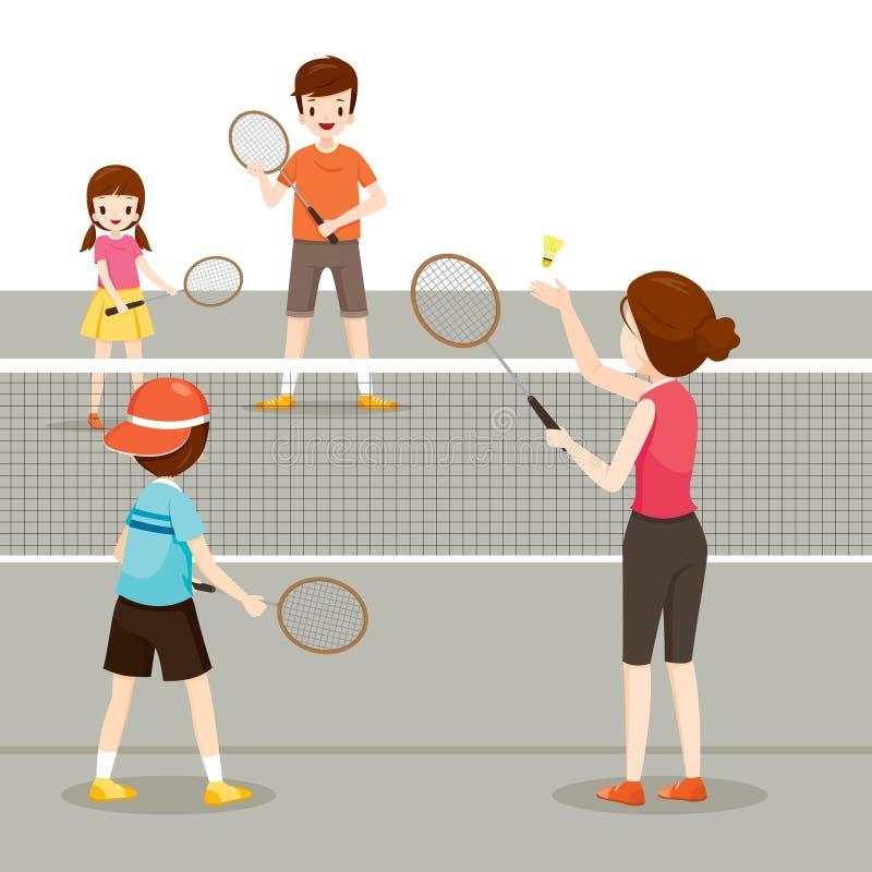 Família que joga o badminton para a boa saúde ilustração do vetor