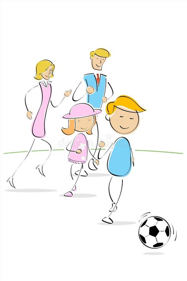 Família que joga o futebol ilustração stock