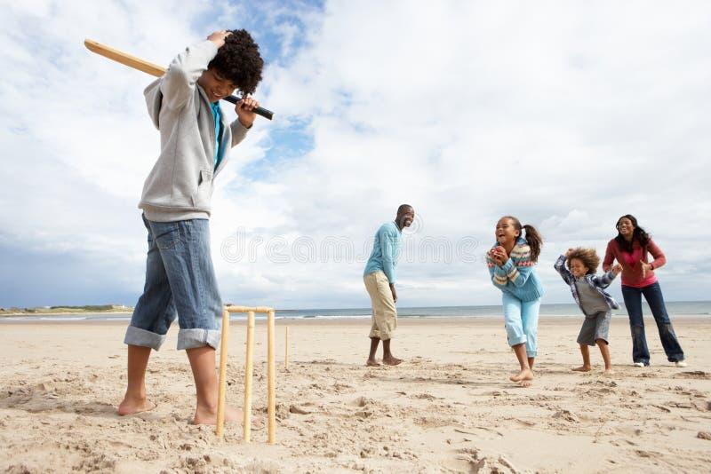 Família que joga o grilo na praia fotografia de stock