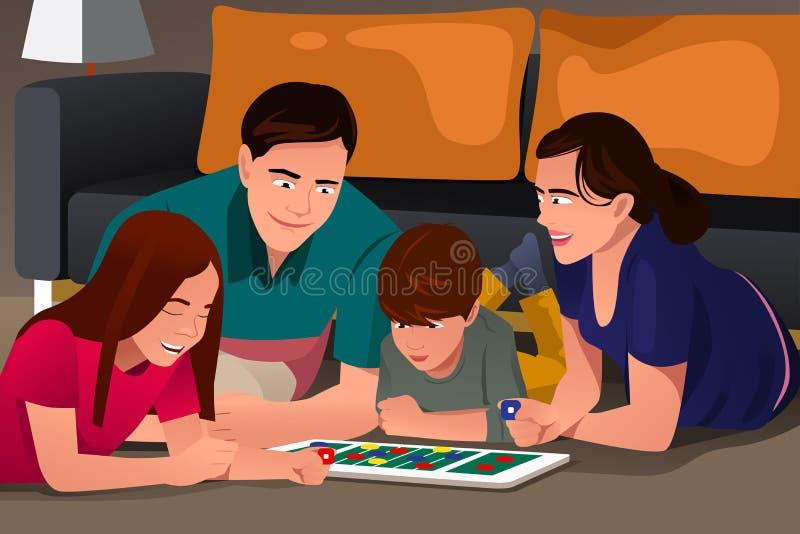 Família que joga um jogo de mesa ilustração royalty free