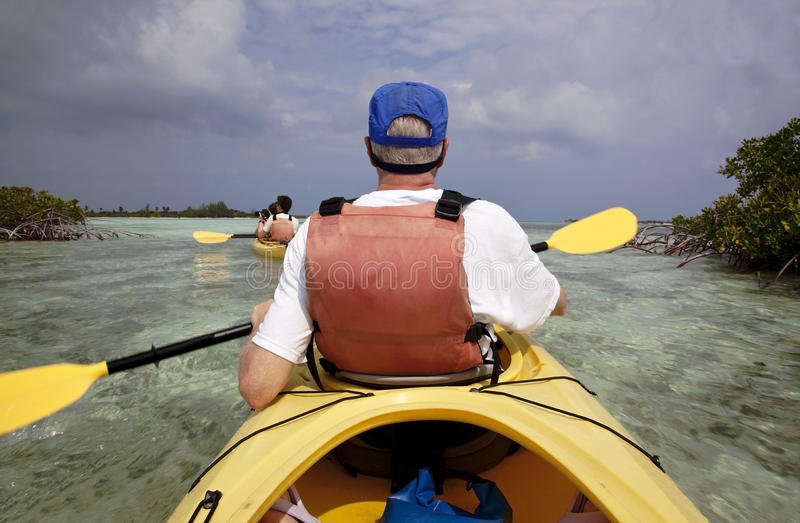 Família que kayaking imagens de stock royalty free