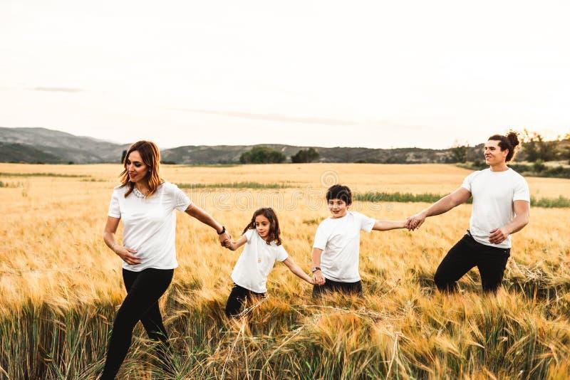 Família que mantém as mãos no campo felizes fotografia de stock