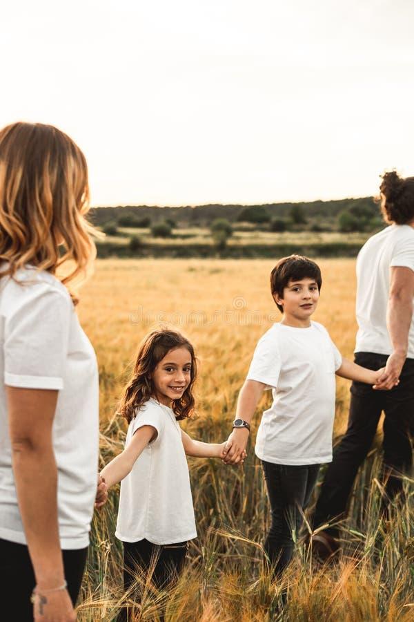 Família que mantém as mãos no campo felizes fotos de stock