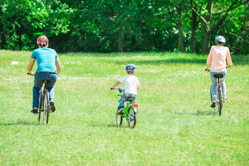 Família que monta a bicicleta no parque imagens de stock