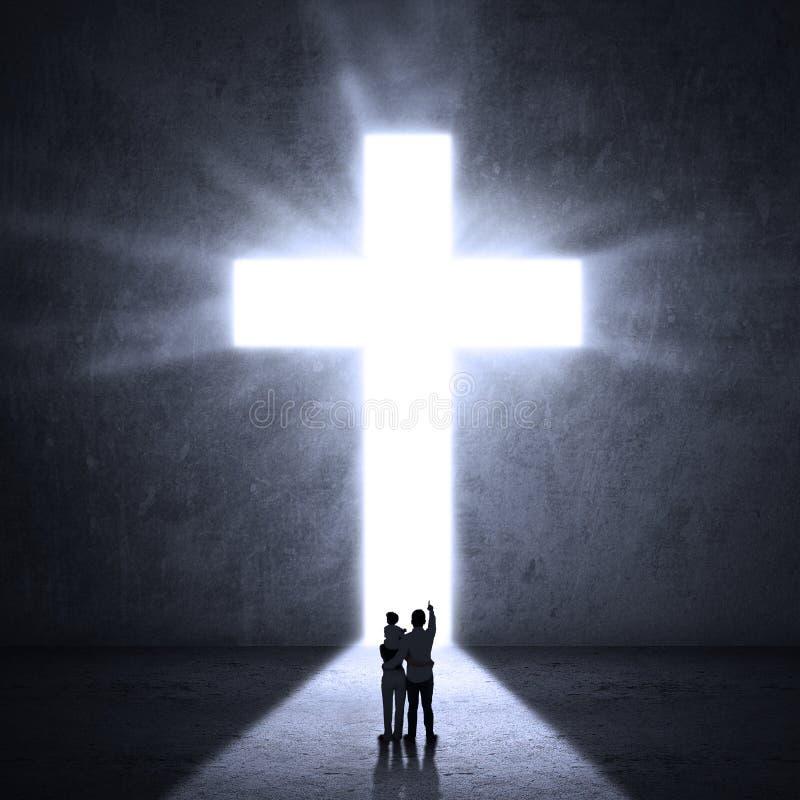 Família que olha a cruz ilustração royalty free