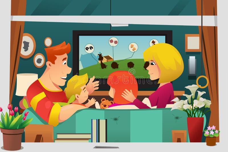 Família que olha a tevê em casa ilustração do vetor