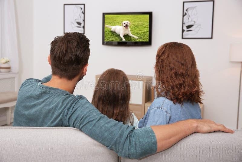 Família que olha a tevê no sofá fotos de stock