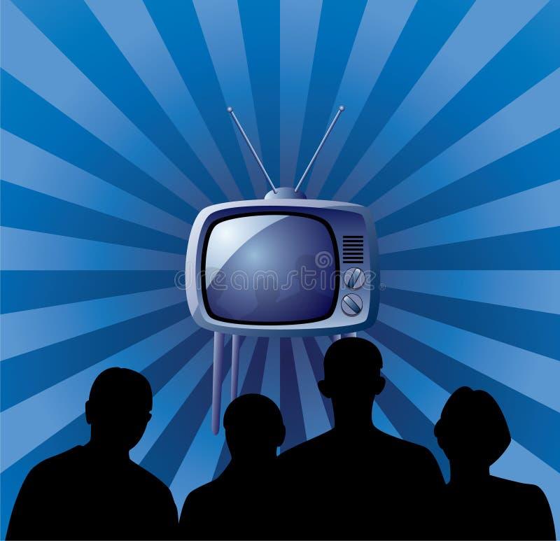 Família que presta atenção ao aparelho de televisão retro ilustração do vetor