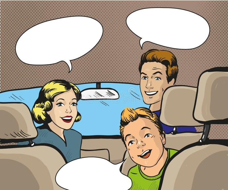 Família que senta-se no carro que olha para trás Vector a ilustração no estilo do pop art, banda desenhada retro ilustração royalty free