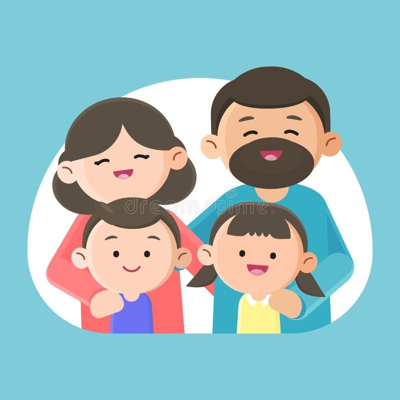 Família que sorri felizmente junto, ilustração do projeto de caráter do vetor ilustração stock