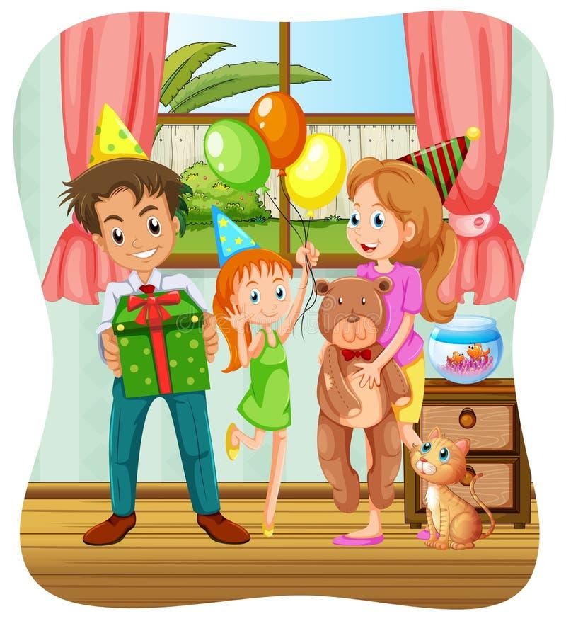 Família que tem a festa de anos ilustração stock