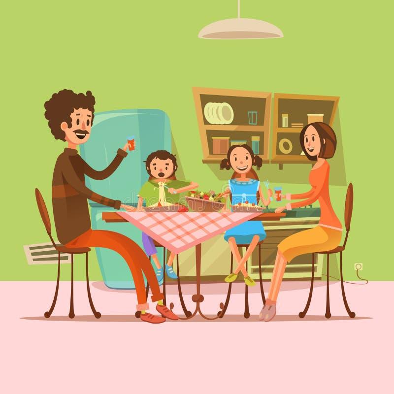 Família que tem a ilustração da refeição ilustração do vetor