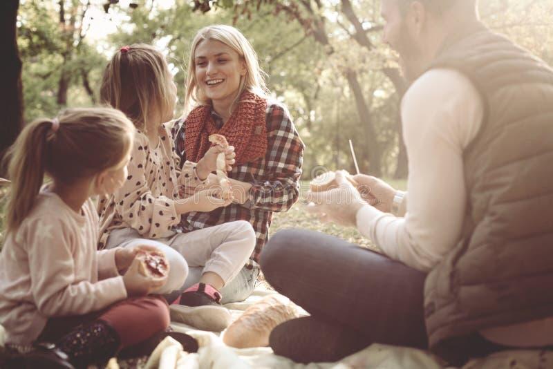 Família que tem o piquenique junto no parque fotografia de stock royalty free