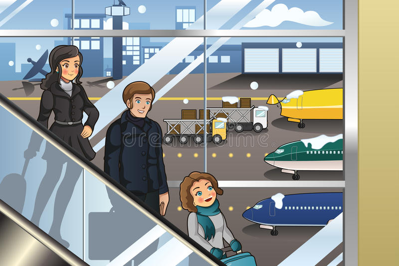 Família que vai Vacation ilustração royalty free
