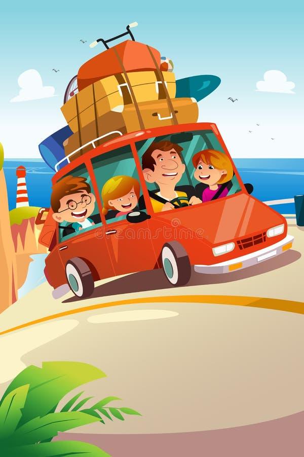Família que viaja em uma viagem por estrada ilustração stock