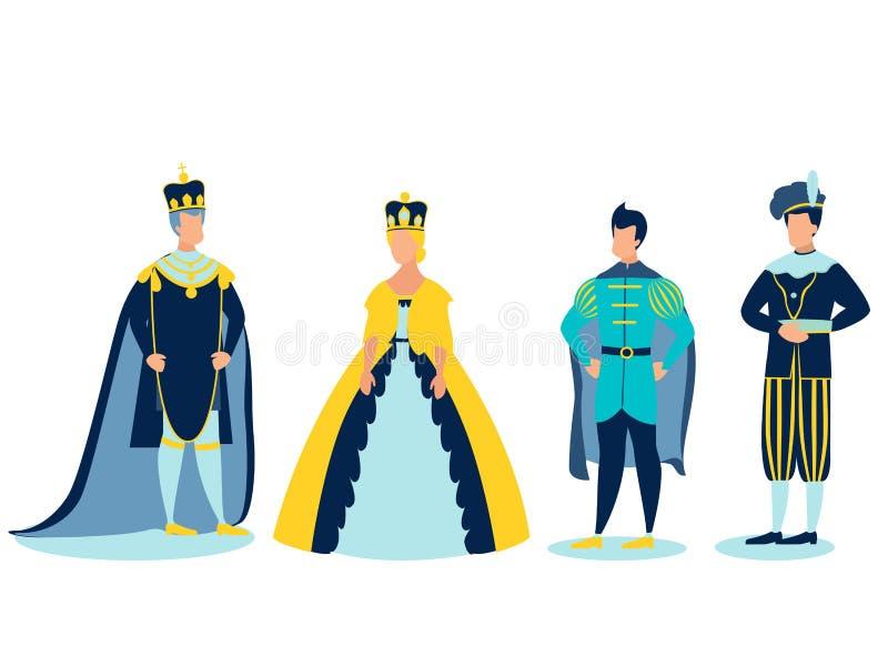 A família real No estilo minimalista Vetor liso dos desenhos animados ilustração stock