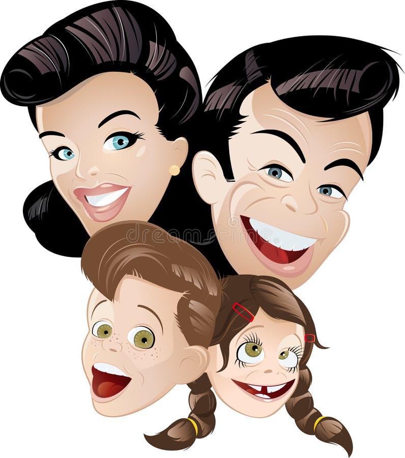 Família retro da animação ilustração do vetor