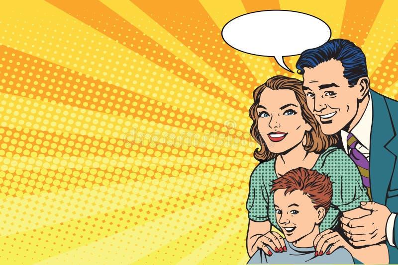 Família retro feliz no cartaz ilustração royalty free