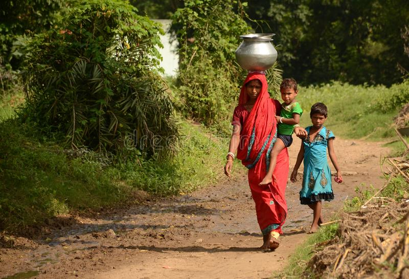 Família rural indiana foto de stock