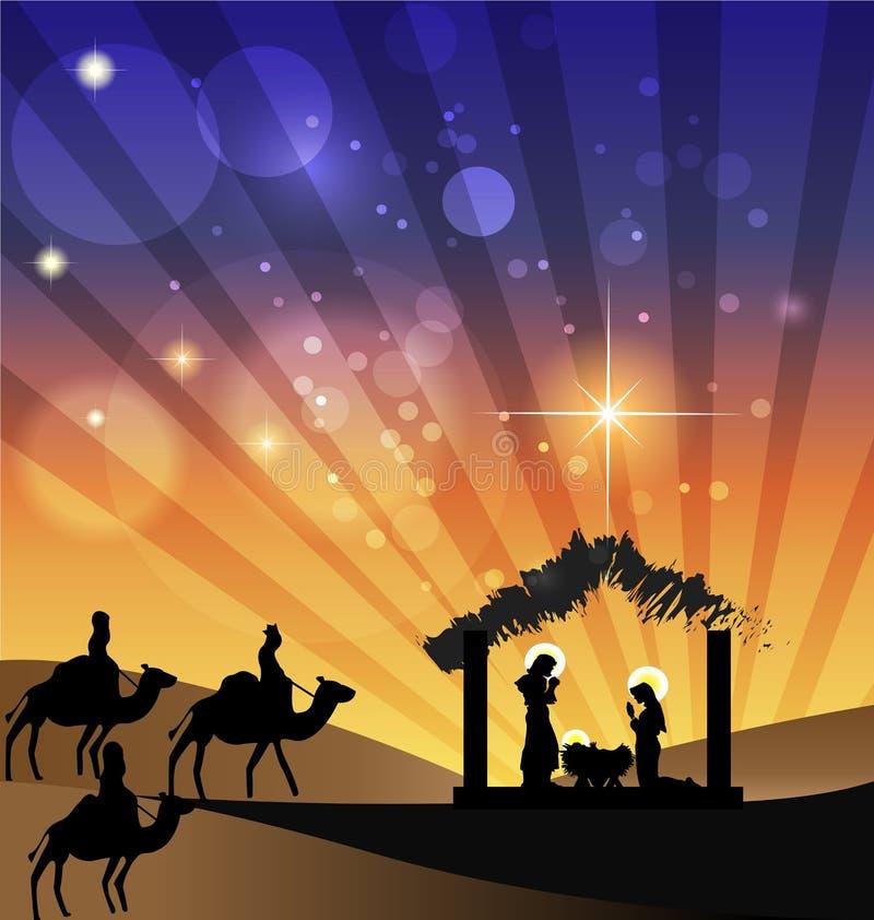Família santamente da cena da natividade do Natal ilustração stock