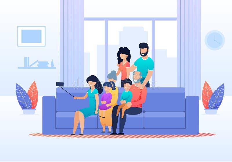 Família Selfie em desenhos animados lisos da sala de visitas em casa ilustração stock