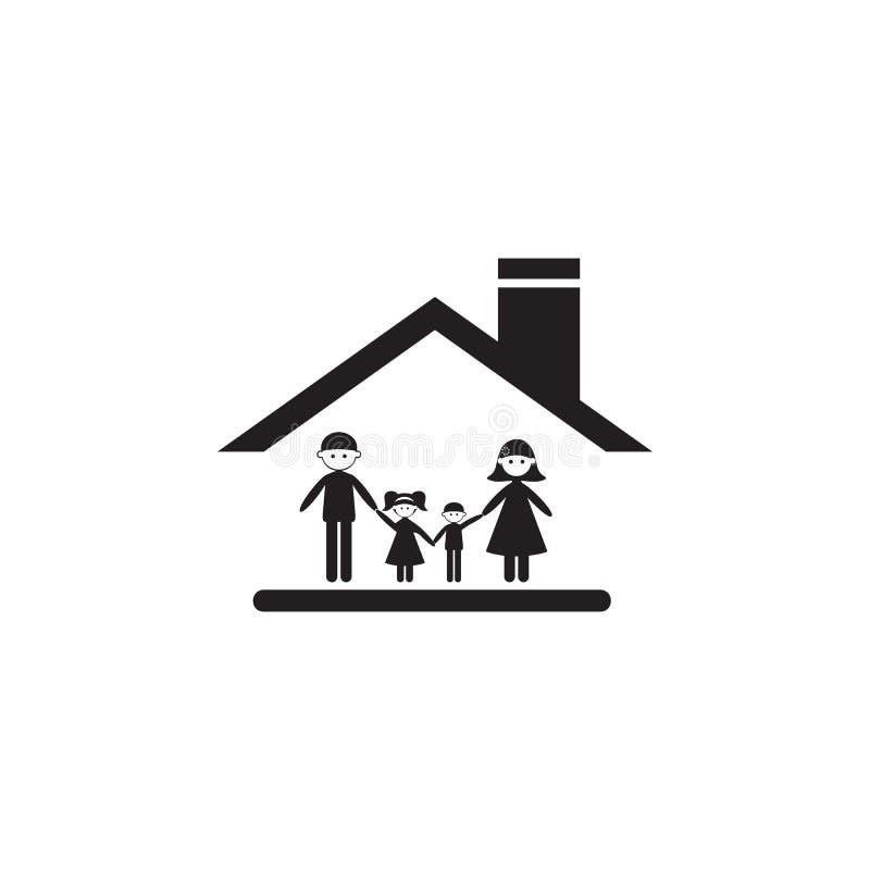 família sob o telhado do ícone da casa Ilustração do ícone dos valores familiares Projeto gráfico da qualidade superior Sinais e  ilustração do vetor
