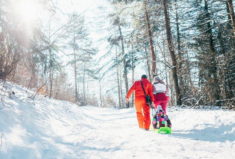 A família tem a caminhada ativa na tração da mãe e do pai da floresta do inverno imagens de stock royalty free