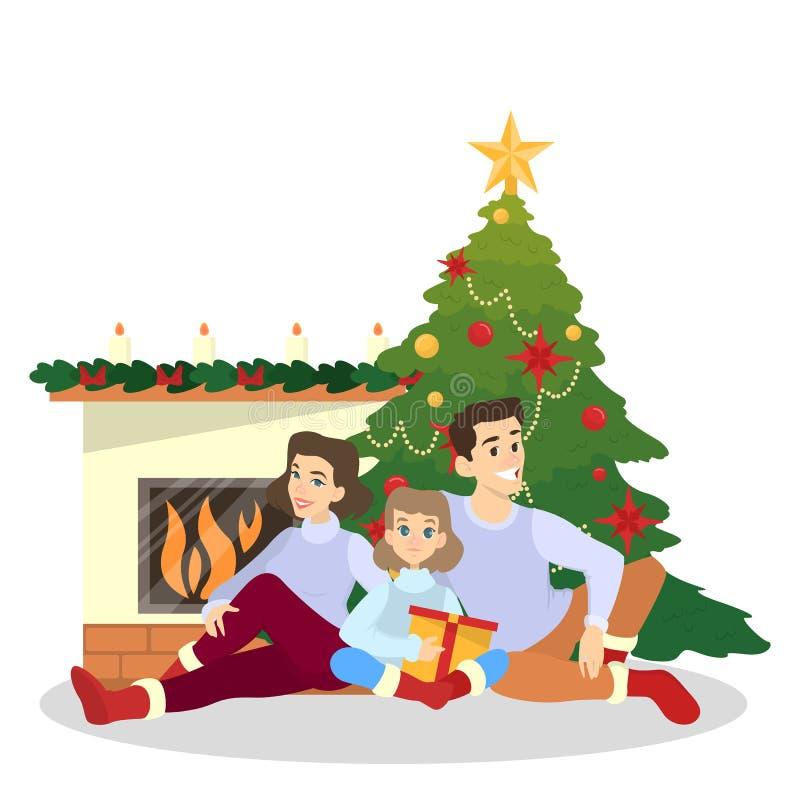 A família tem o divertimento junto na árvore de Natal ilustração royalty free