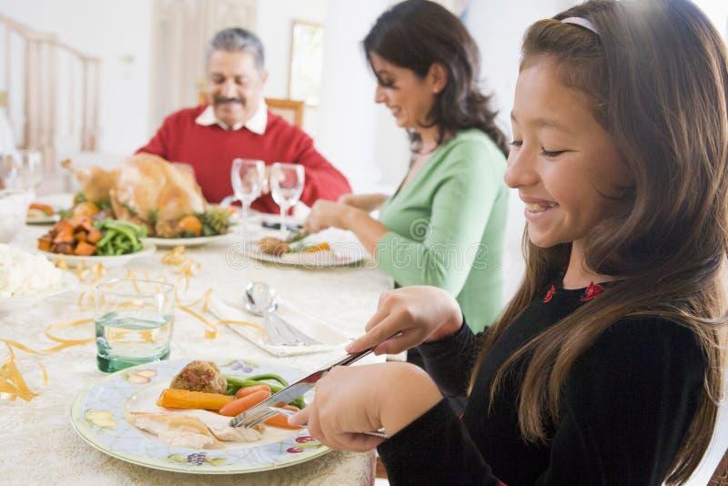 Família toda junto no jantar do Natal imagens de stock royalty free