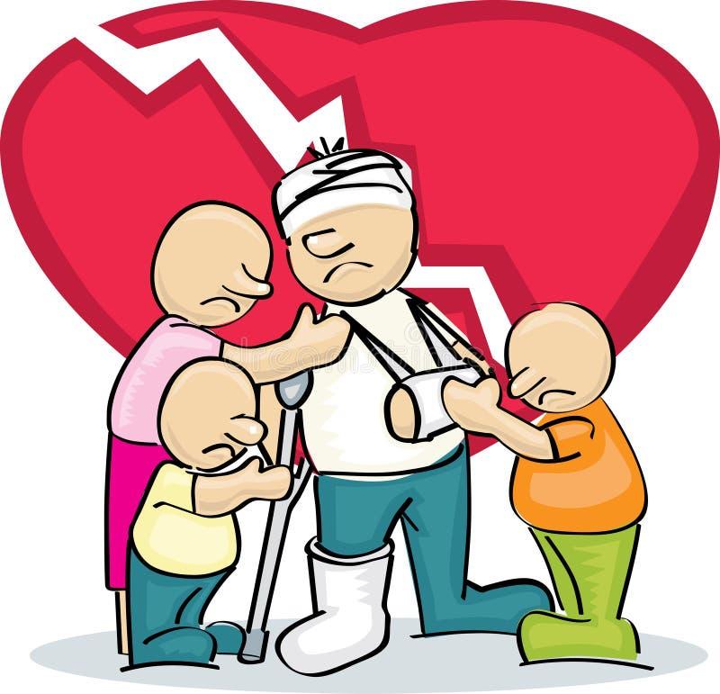 Família triste com pai ferido ilustração do vetor