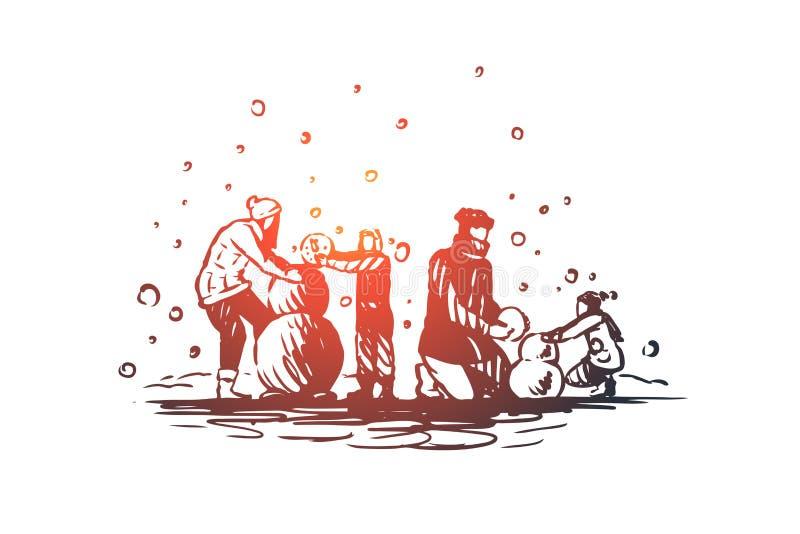 Família, unidade, inverno, conceito da felicidade do Natal Ilustração isolada esboço tirada mão ilustração do vetor