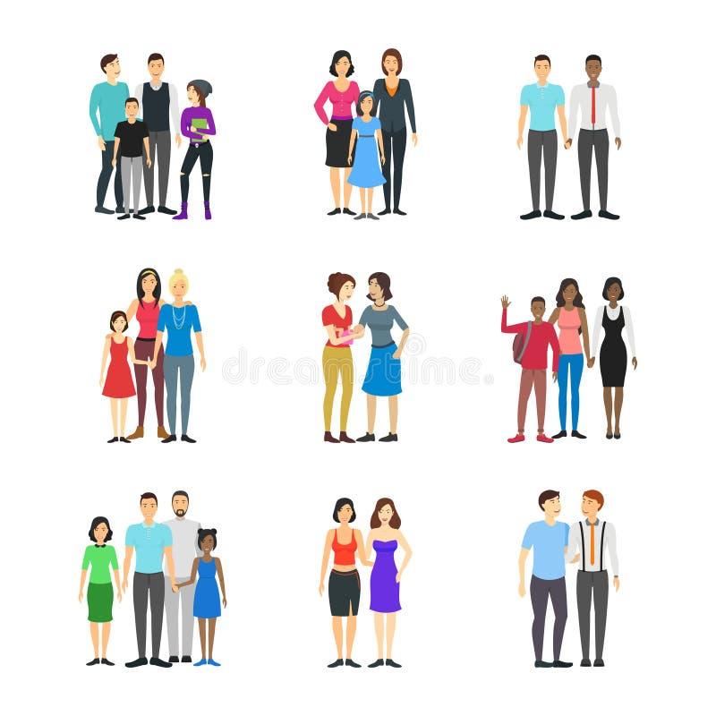 Famílias diferentes dos pares do homossexual dos personagens de banda desenhada ajustadas Vetor ilustração royalty free
