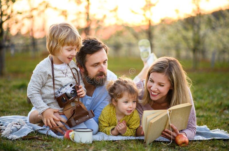 Famílias e crianças pequenas com câmara e livro ao ar livre na natureza da primavera, descansando imagem de stock royalty free