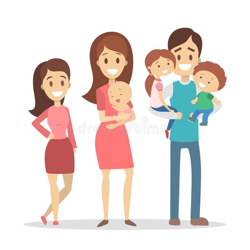 Famílias felizes ajustadas ilustração do vetor
